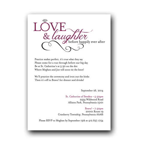 love laughter rehearsal dinner invitation dot and bow