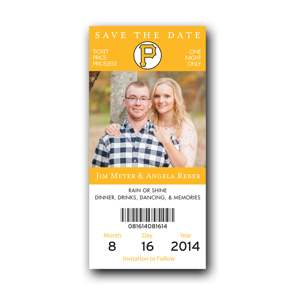 baseball ticket save the date pirates dot and bow