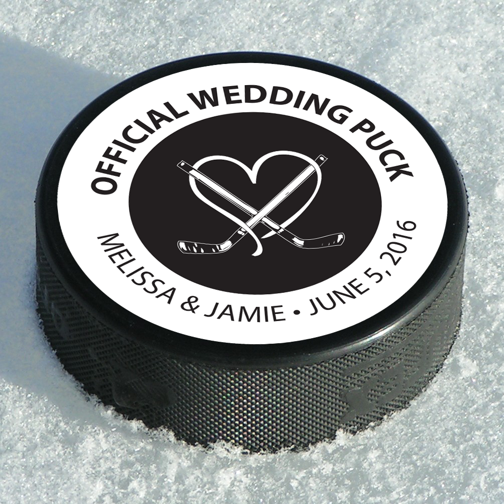 Hockey Puck Favor Label Dot And Bow