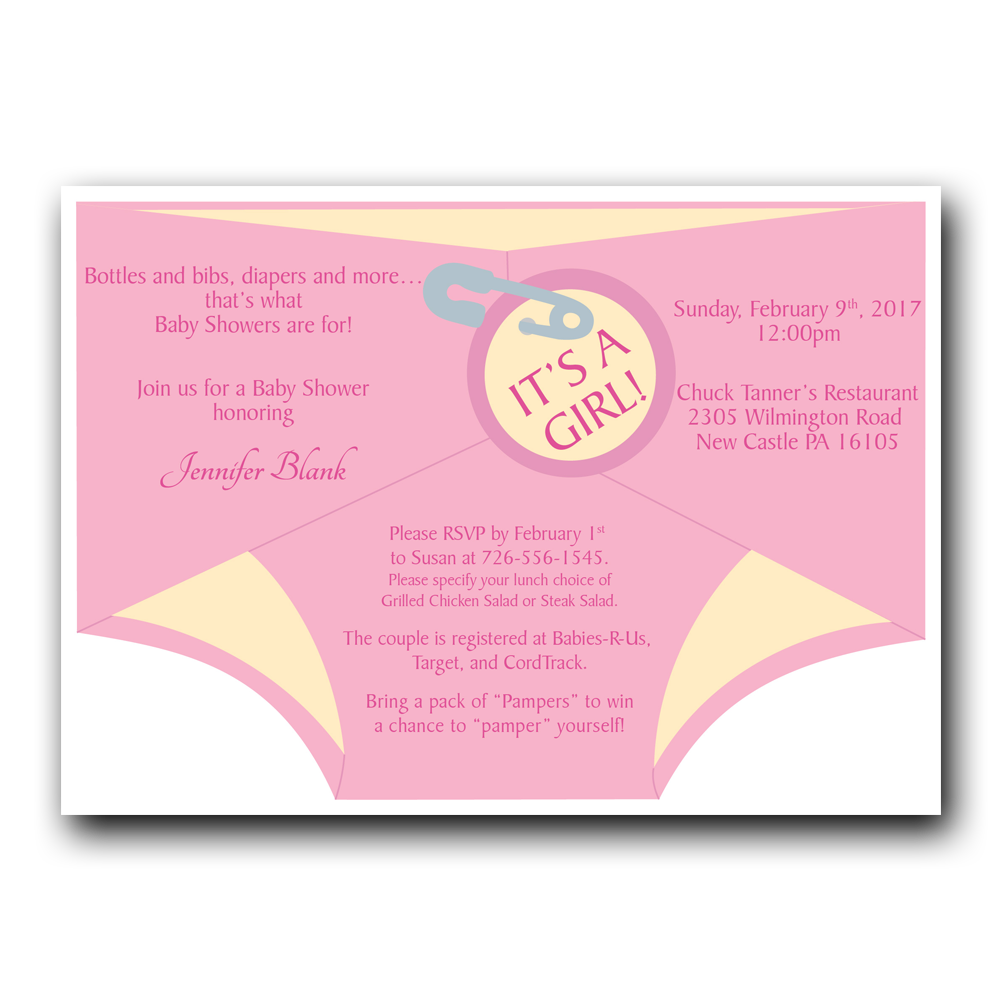 Diaper Shower Invitation - Pink - Dot and Bow