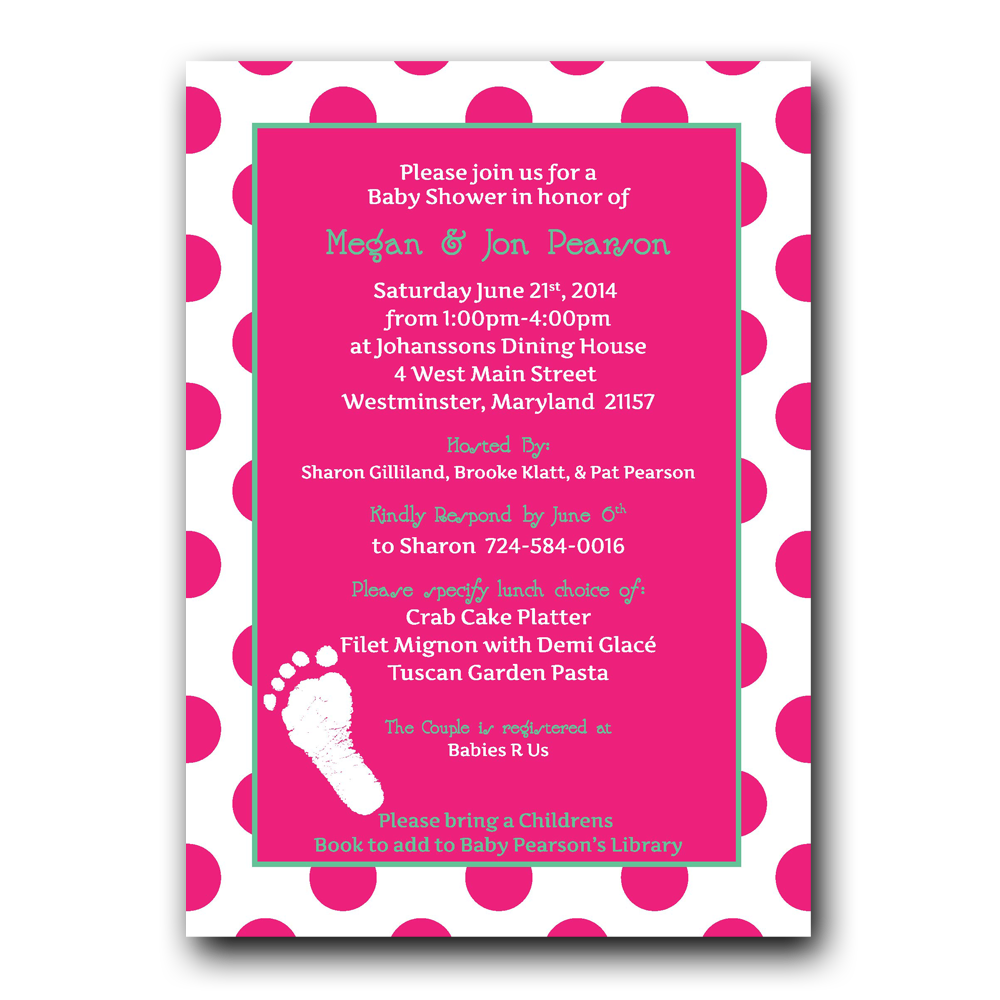 Footprint baby shower invitation dot and bow footprint baby shower invitation filmwisefo