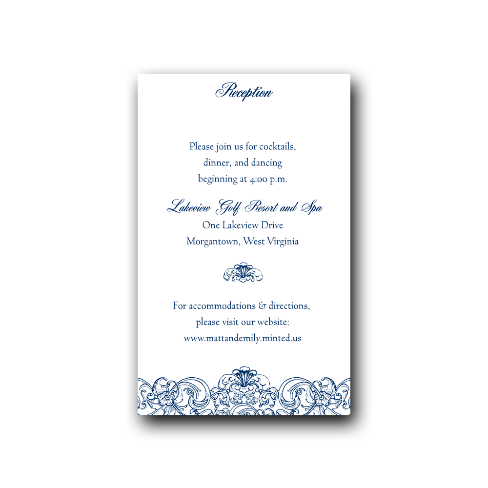 Blue Filigree Wedding Invitation Set