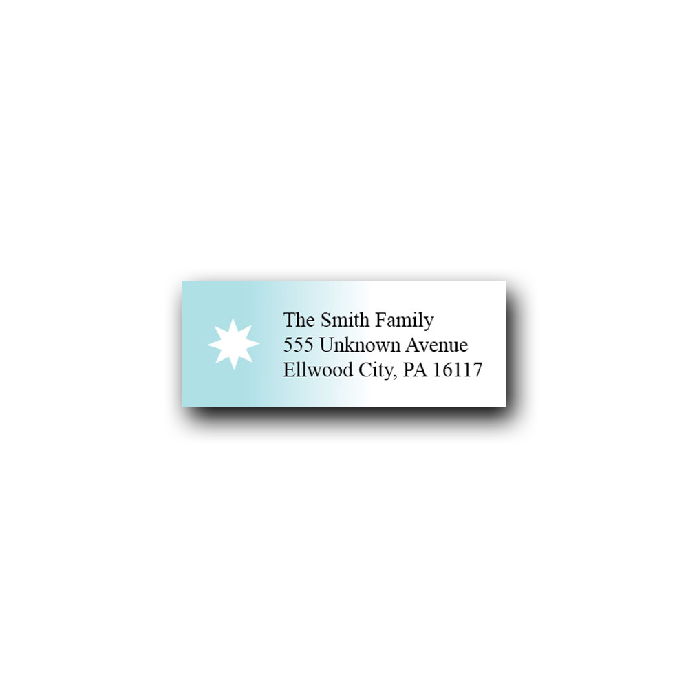 ombre blue star address label dot and bow