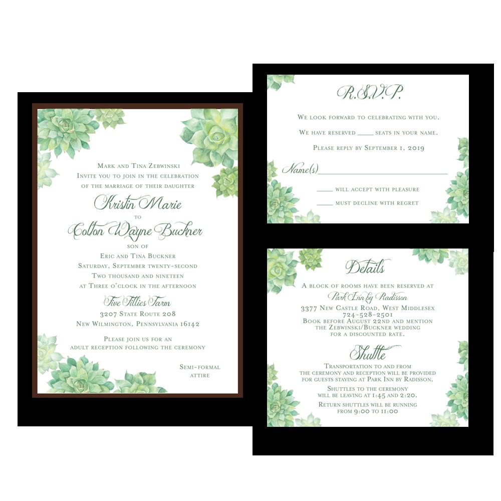 Carlson Craft Pocket Wedding Invitations: Succulents Pocket Wedding Invitation Set