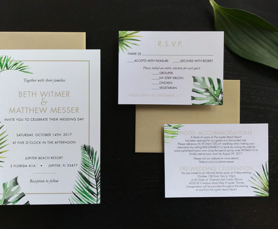 Tropical Palms Wedding Invitation Set